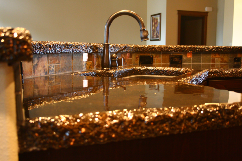 Countertop Paint Flakes : ... countertops with a hand chiseled edge, copper flake and epoxy topcoat